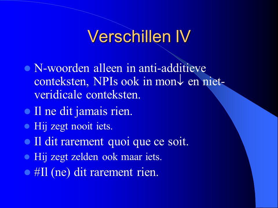 Verschillen IV N-woorden alleen in anti-additieve conteksten, NPIs ook in mon  en niet- veridicale conteksten.