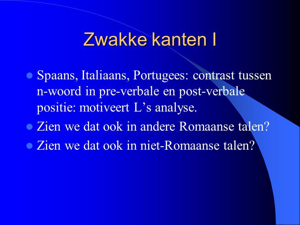 Zwakke kanten I Spaans, Italiaans, Portugees: contrast tussen n-woord in pre-verbale en post-verbale positie: motiveert L's analyse.