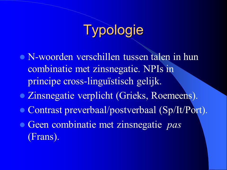 Typologie N-woorden verschillen tussen talen in hun combinatie met zinsnegatie.