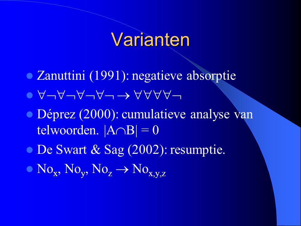 Varianten Zanuttini (1991): negatieve absorptie    Déprez (2000): cumulatieve analyse van telwoorden.