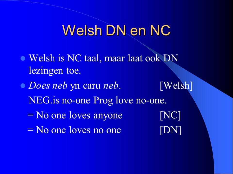Welsh DN en NC Welsh is NC taal, maar laat ook DN lezingen toe.