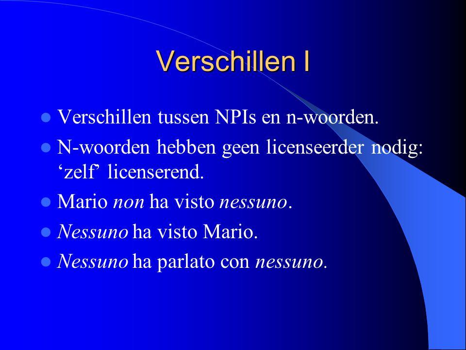 Verschillen I Verschillen tussen NPIs en n-woorden.
