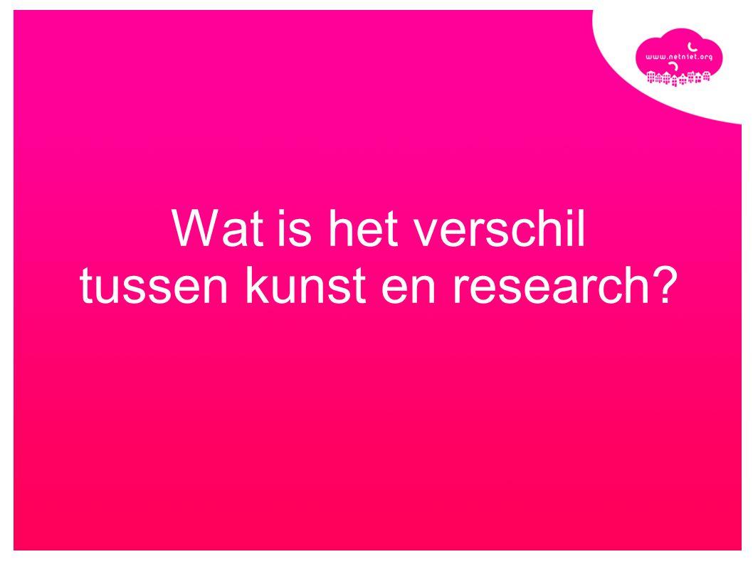 Wat is het verschil tussen kunst en research?