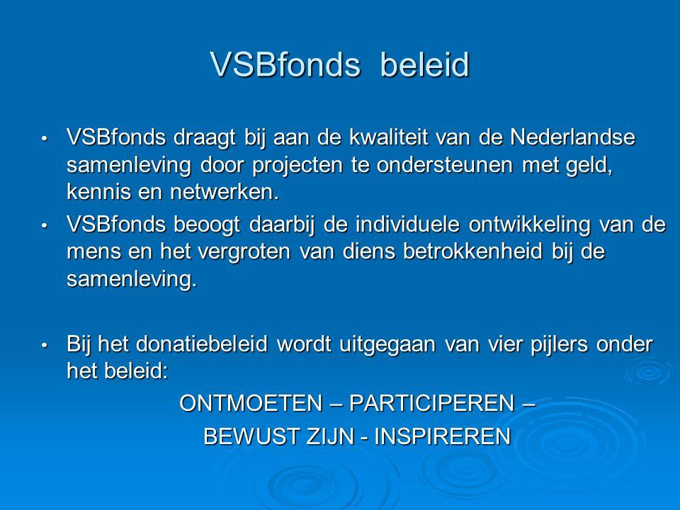 VSBfonds beleid VSBfonds draagt bij aan de kwaliteit van de Nederlandse samenleving door projecten te ondersteunen met geld, kennis en netwerken.