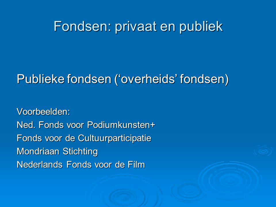 Private fondsen Private fondsen zijn onder te verdelen in: vermogensfondsen (er is reeds een vermogen dat professioneel beheerd wordt) vermogensfondsen (er is reeds een vermogen dat professioneel beheerd wordt) vermogensverwervende fondsen (het vermogen komt voort uit fondsenwerving zoals collectes, acties e.d.) vermogensverwervende fondsen (het vermogen komt voort uit fondsenwerving zoals collectes, acties e.d.) een combinatie van beide een combinatie van beide