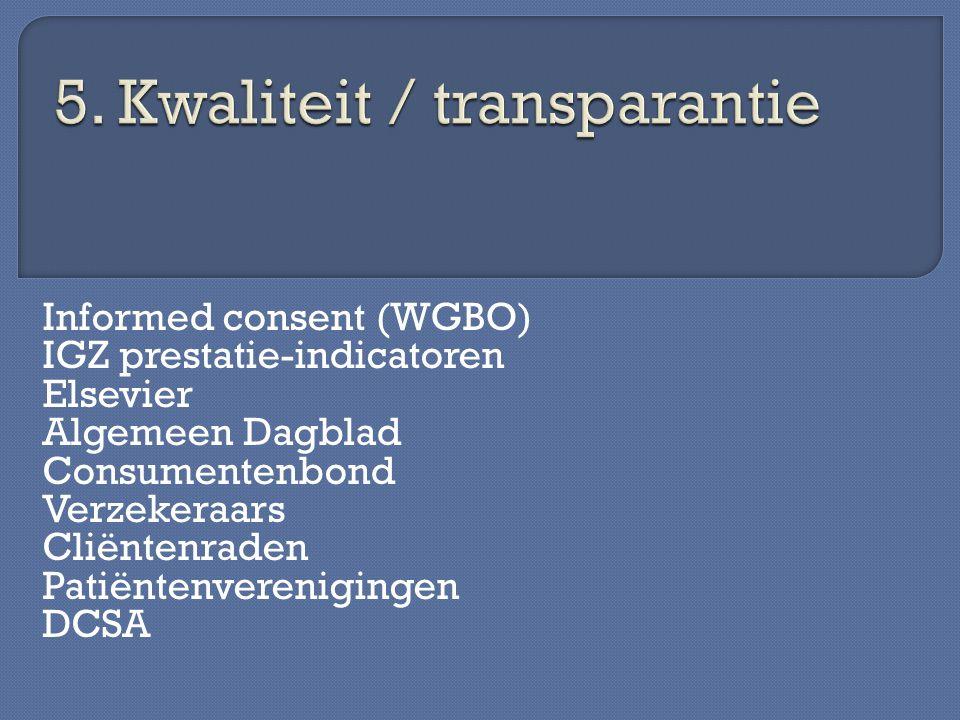 Informed consent (WGBO) IGZ prestatie-indicatoren Elsevier Algemeen Dagblad Consumentenbond Verzekeraars Cliëntenraden Patiëntenverenigingen DCSA