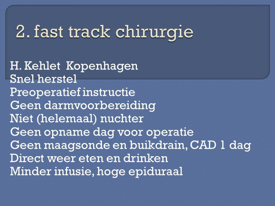 H. Kehlet Kopenhagen Snel herstel Preoperatief instructie Geen darmvoorbereiding Niet (helemaal) nuchter Geen opname dag voor operatie Geen maagsonde