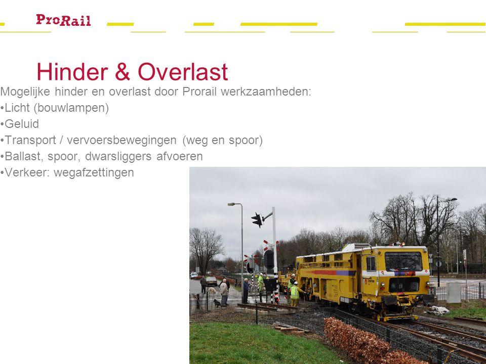 Hinder & Overlast Mogelijke hinder en overlast door Prorail werkzaamheden: Licht (bouwlampen) Geluid Transport / vervoersbewegingen (weg en spoor) Ballast, spoor, dwarsliggers afvoeren Verkeer: wegafzettingen