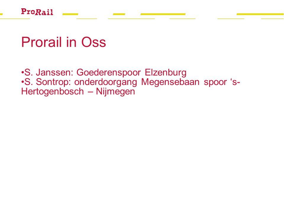 Prorail in Oss S. Janssen: Goederenspoor Elzenburg S. Sontrop: onderdoorgang Megensebaan spoor 's- Hertogenbosch – Nijmegen