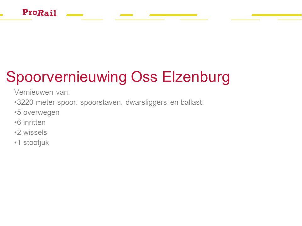 Spoorvernieuwing Oss Elzenburg Vernieuwen van: 3220 meter spoor: spoorstaven, dwarsliggers en ballast. 5 overwegen 6 inritten 2 wissels 1 stootjuk