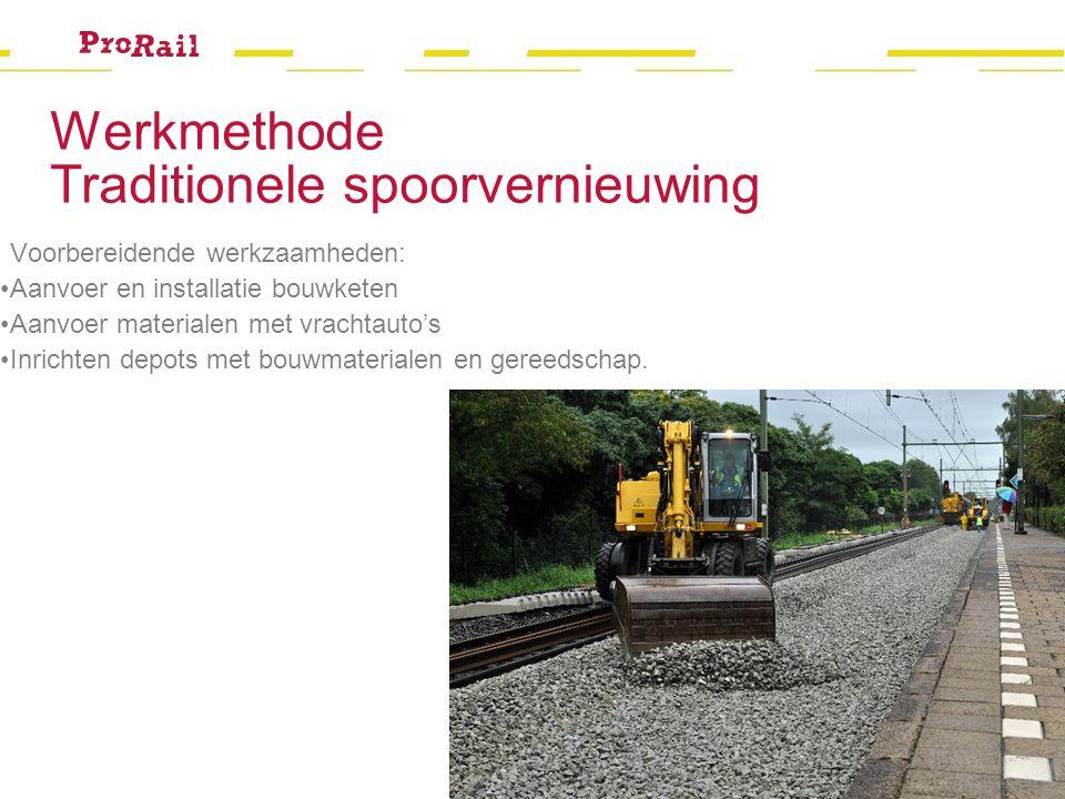 Werkmethode Traditionele spoorvernieuwing Voorbereidende werkzaamheden: Aanvoer en installatie bouwketen Aanvoer materialen met vrachtauto's Inrichten depots met bouwmaterialen en gereedschap.