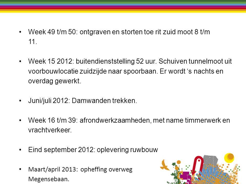 Week 49 t/m 50: ontgraven en storten toe rit zuid moot 8 t/m 11. Week 15 2012: buitendienststelling 52 uur. Schuiven tunnelmoot uit voorbouwlocatie zu