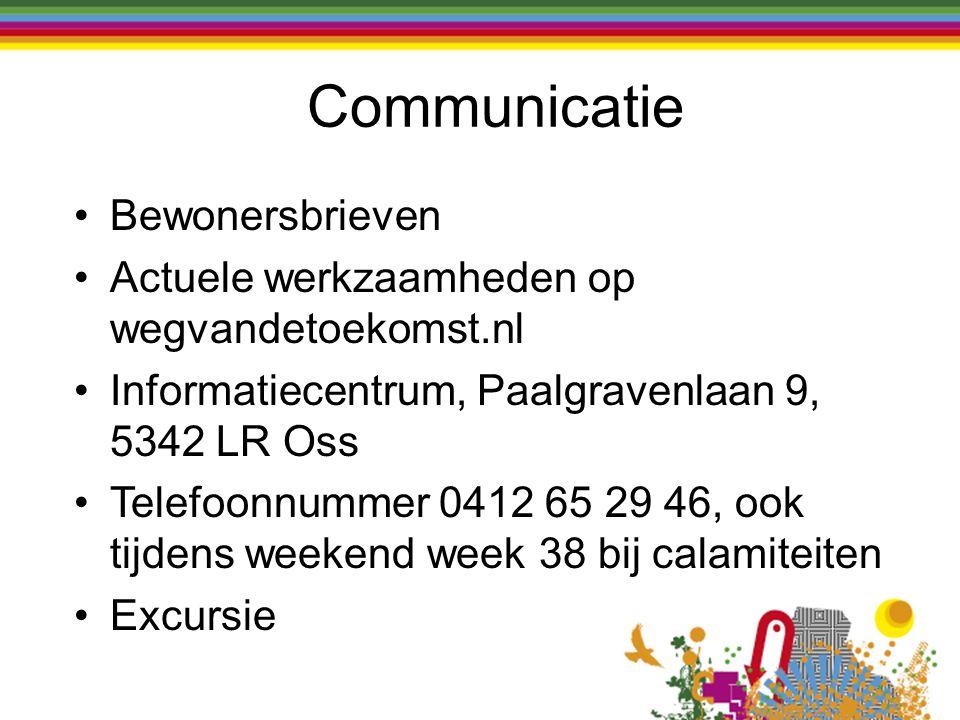 Bewonersbrieven Actuele werkzaamheden op wegvandetoekomst.nl Informatiecentrum, Paalgravenlaan 9, 5342 LR Oss Telefoonnummer 0412 65 29 46, ook tijden