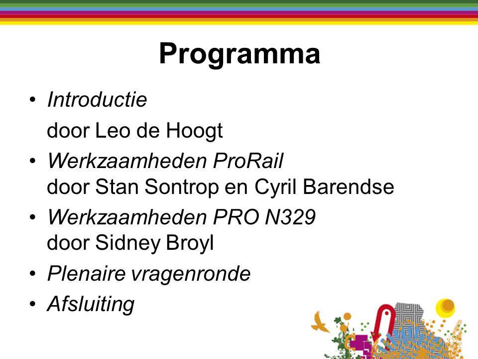 Introductie door Leo de Hoogt Werkzaamheden ProRail door Stan Sontrop en Cyril Barendse Werkzaamheden PRO N329 door Sidney Broyl Plenaire vragenronde