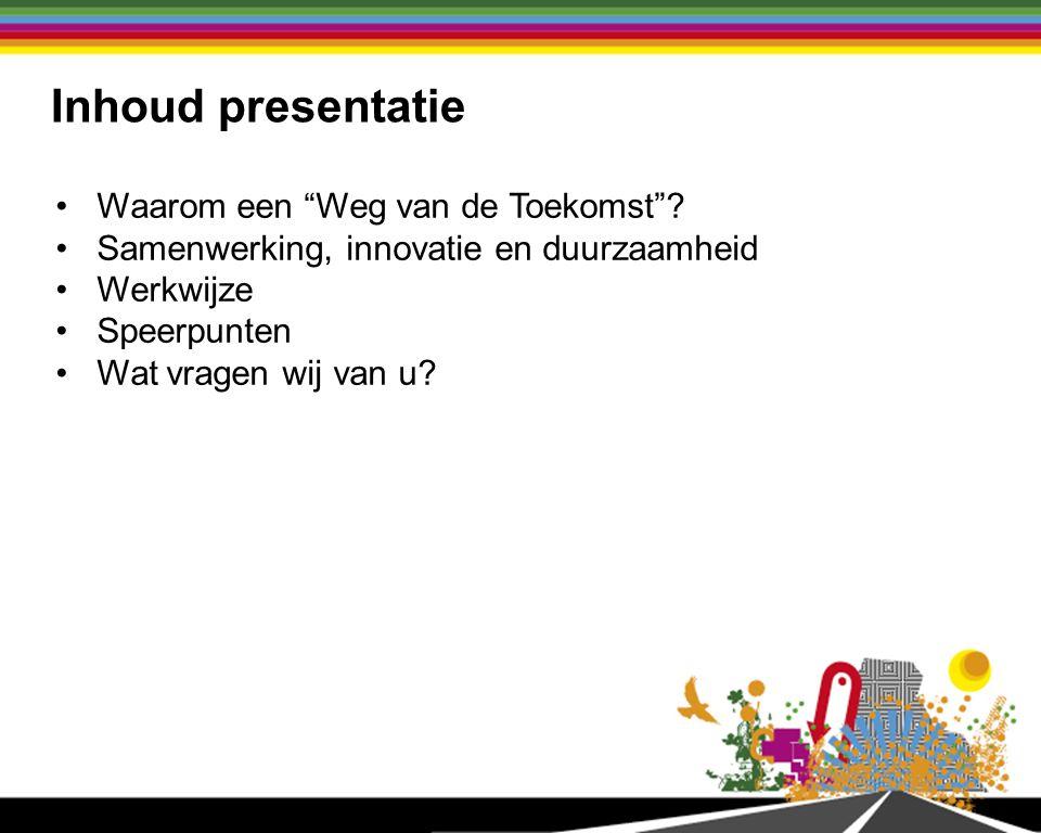 Inhoud presentatie Waarom een Weg van de Toekomst .