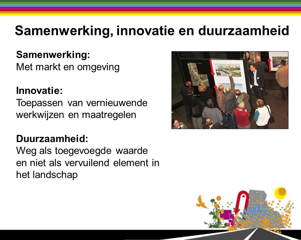 Samenwerking, innovatie en duurzaamheid Samenwerking: Met markt en omgeving Innovatie: Toepassen van vernieuwende werkwijzen en maatregelen Duurzaamheid: Weg als toegevoegde waarde en niet als vervuilend element in het landschap