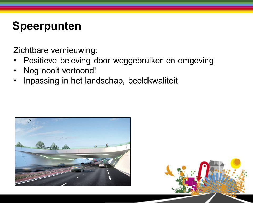 Speerpunten Zichtbare vernieuwing: Positieve beleving door weggebruiker en omgeving Nog nooit vertoond.