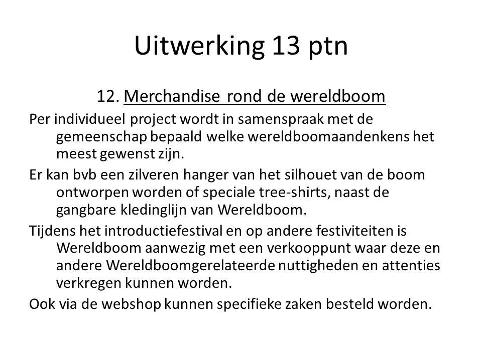 Uitwerking 13 ptn 12.Merchandise rond de wereldboom Per individueel project wordt in samenspraak met de gemeenschap bepaald welke wereldboomaandenkens het meest gewenst zijn.