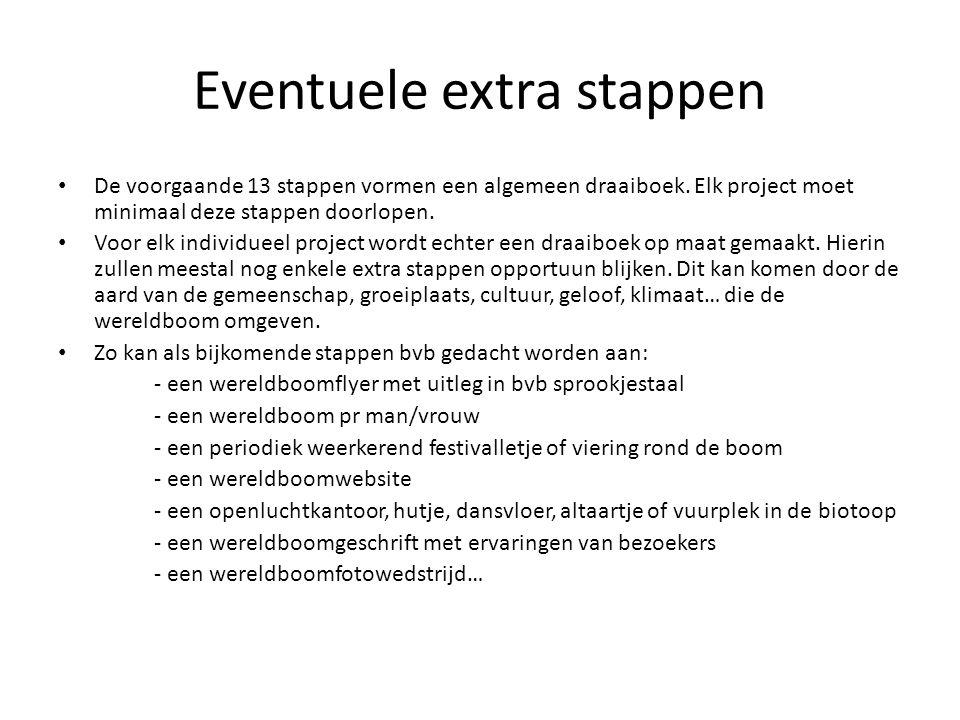 Eventuele extra stappen De voorgaande 13 stappen vormen een algemeen draaiboek. Elk project moet minimaal deze stappen doorlopen. Voor elk individueel