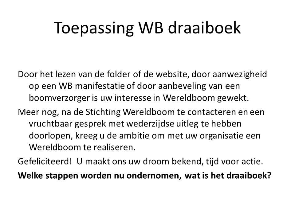 Toepassing WB draaiboek Door het lezen van de folder of de website, door aanwezigheid op een WB manifestatie of door aanbeveling van een boomverzorger is uw interesse in Wereldboom gewekt.