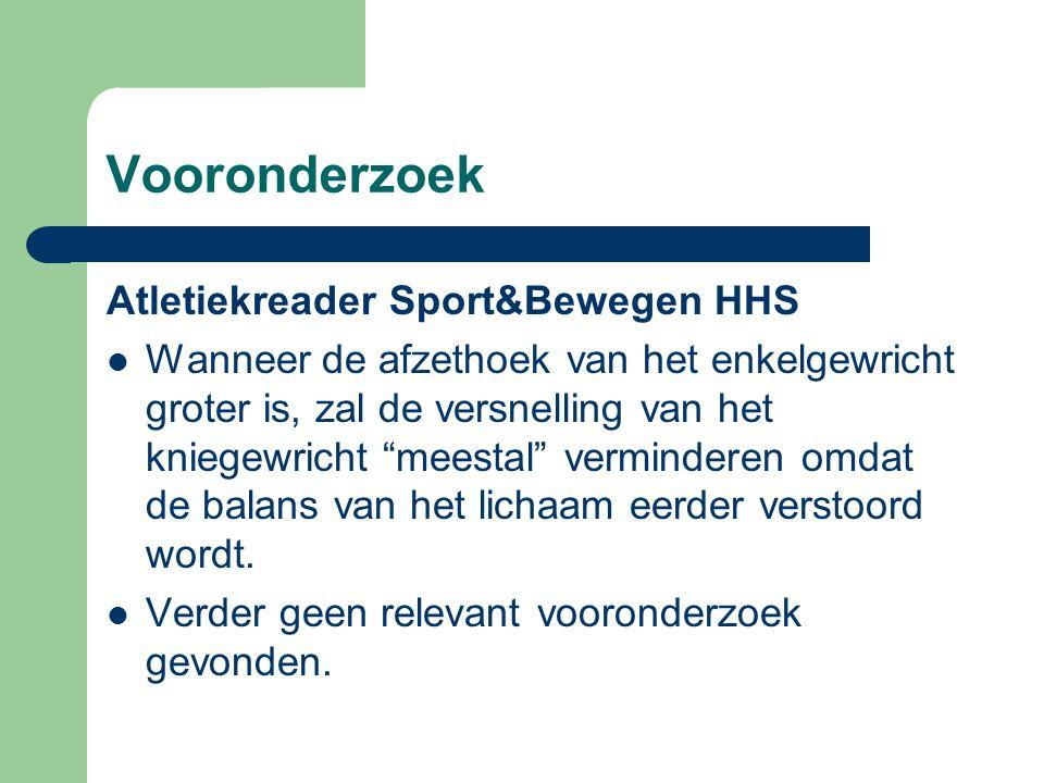 """Vooronderzoek Atletiekreader Sport&Bewegen HHS Wanneer de afzethoek van het enkelgewricht groter is, zal de versnelling van het kniegewricht """"meestal"""""""