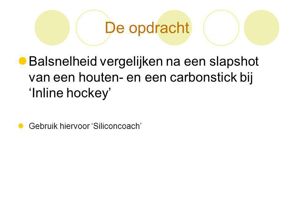 Literatuur Pearsall, Montgomery, Rothsching, Turcotte (1999) The influence of stick stiffness on the performance of ice hockey slap shots the stick with lowest shaft stiffness of 13 KN m1 produced the highest puck velocity Hypothese: Met een carbonstick kun je een bal harder slaan dan met een houten stick.