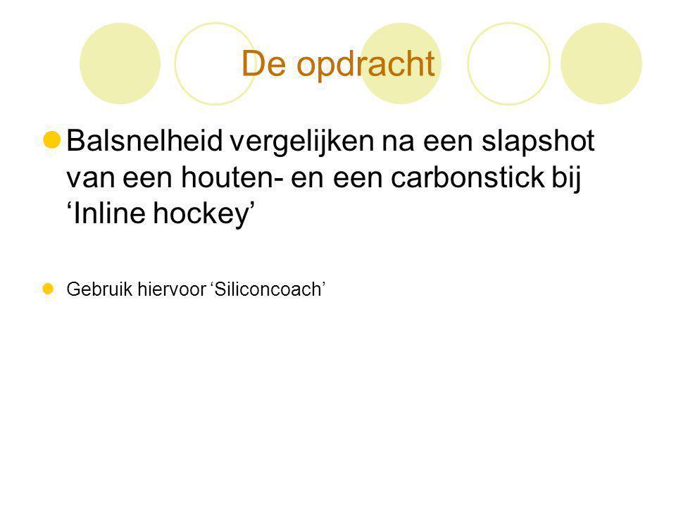 De opdracht Balsnelheid vergelijken na een slapshot van een houten- en een carbonstick bij 'Inline hockey' Gebruik hiervoor 'Siliconcoach'