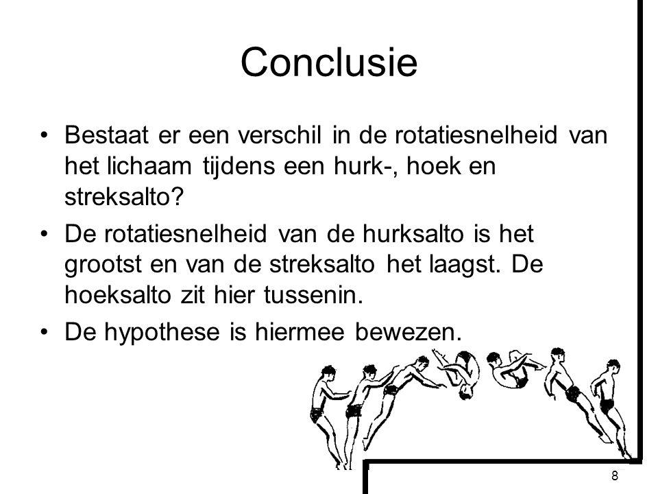 8 Conclusie Bestaat er een verschil in de rotatiesnelheid van het lichaam tijdens een hurk-, hoek en streksalto? De rotatiesnelheid van de hurksalto i