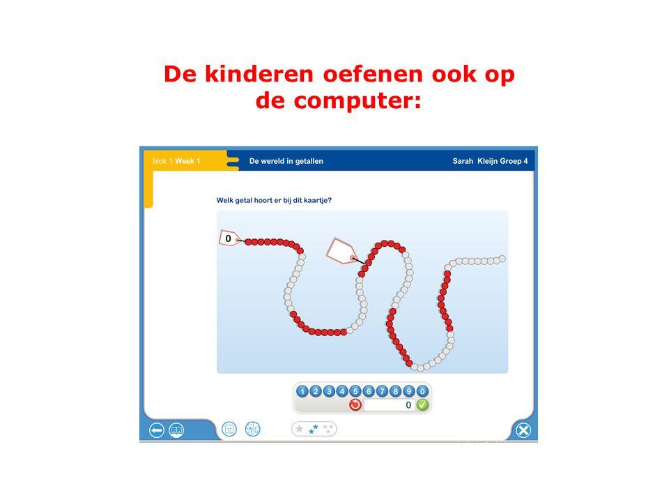 De kinderen oefenen ook op de computer: