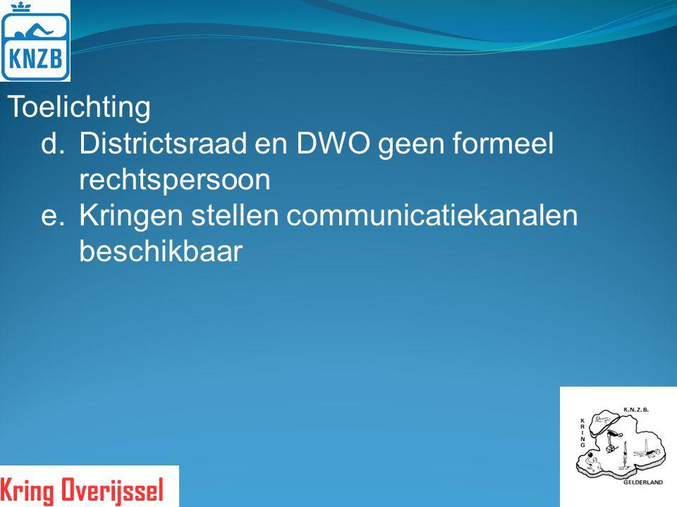 Toelichting d.Districtsraad en DWO geen formeel rechtspersoon e.Kringen stellen communicatiekanalen beschikbaar