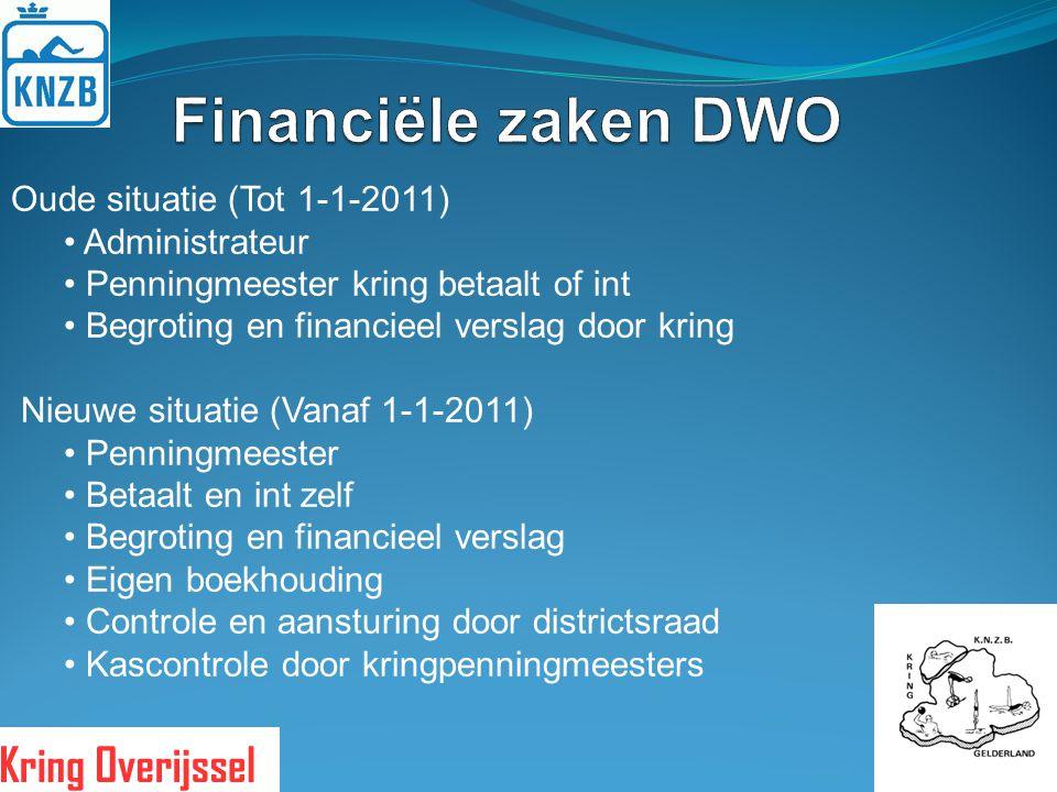 Oude situatie (Tot 1-1-2011) Administrateur Penningmeester kring betaalt of int Begroting en financieel verslag door kring Nieuwe situatie (Vanaf 1-1-