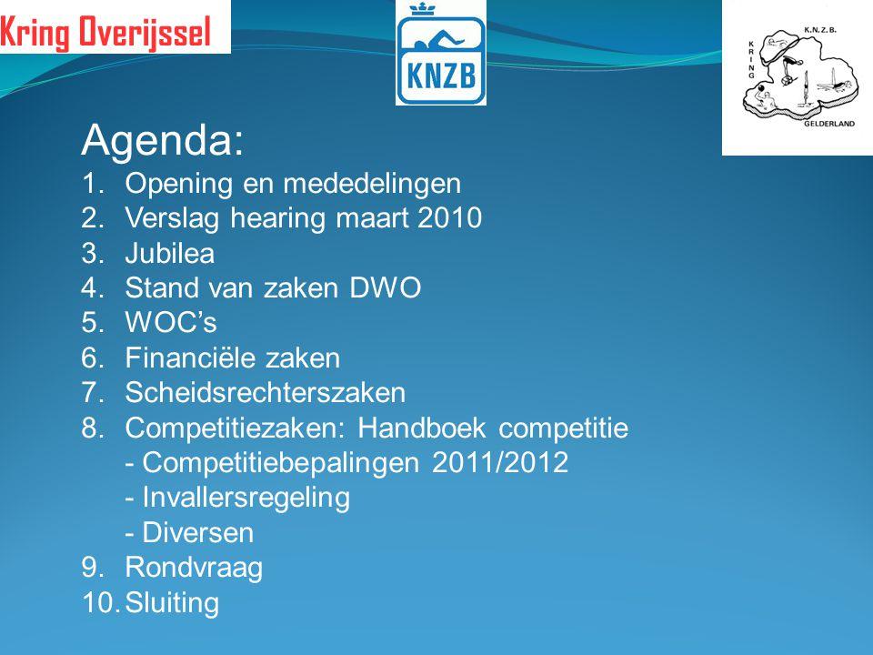 Agenda: 1.Opening en mededelingen 2.Verslag hearing maart 2010 3.Jubilea 4.Stand van zaken DWO 5.WOC's 6.Financiële zaken 7.Scheidsrechterszaken 8.Com