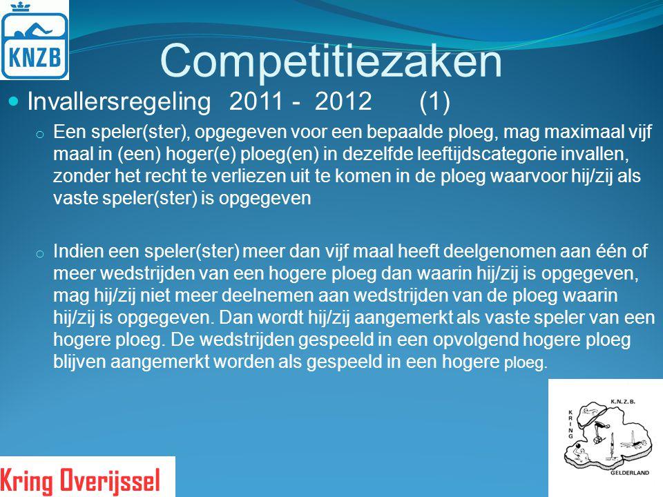 Competitiezaken Invallersregeling 2011 - 2012 (1) o Een speler(ster), opgegeven voor een bepaalde ploeg, mag maximaal vijf maal in (een) hoger(e) ploe