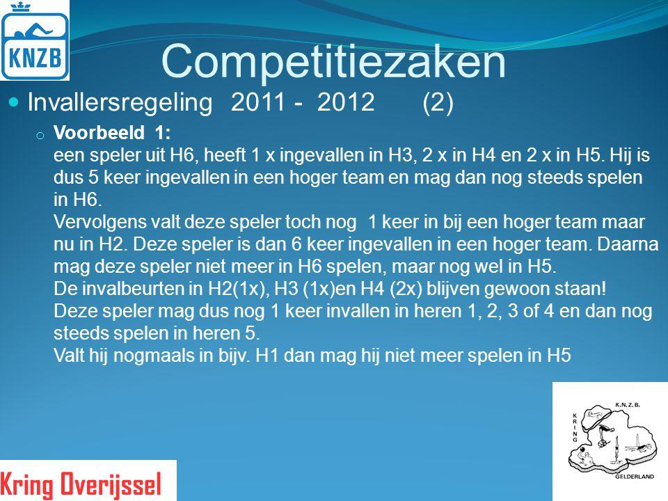 Competitiezaken Invallersregeling 2011 - 2012 (2) o Voorbeeld 1: een speler uit H6, heeft 1 x ingevallen in H3, 2 x in H4 en 2 x in H5. Hij is dus 5 k