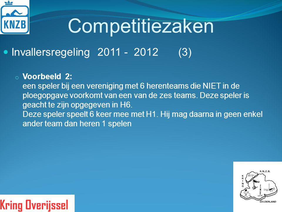 Competitiezaken Invallersregeling 2011 - 2012 (3) o Voorbeeld 2: een speler bij een vereniging met 6 herenteams die NIET in de ploegopgave voorkomt va