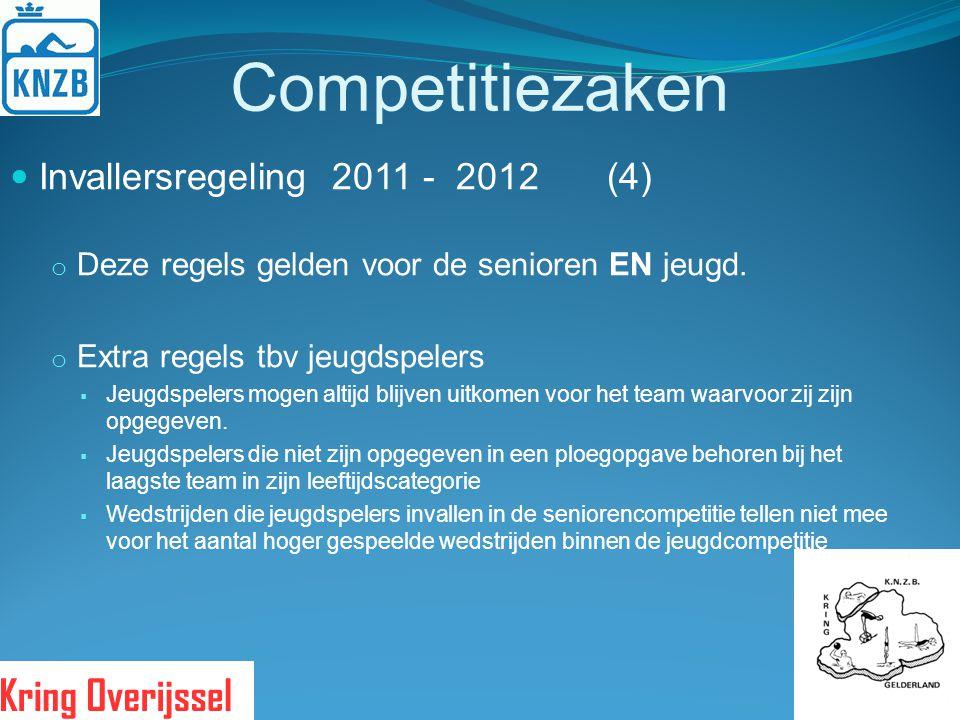 Competitiezaken Invallersregeling 2011 - 2012 (4) o Deze regels gelden voor de senioren EN jeugd. o Extra regels tbv jeugdspelers  Jeugdspelers mogen