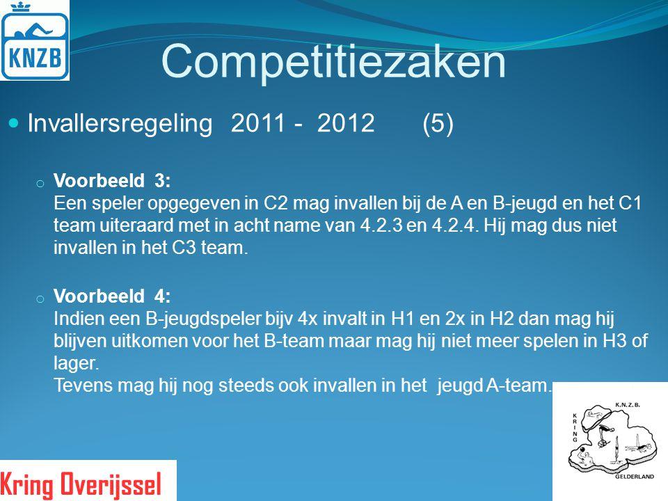 Competitiezaken Invallersregeling 2011 - 2012 (5) o Voorbeeld 3: Een speler opgegeven in C2 mag invallen bij de A en B-jeugd en het C1 team uiteraard