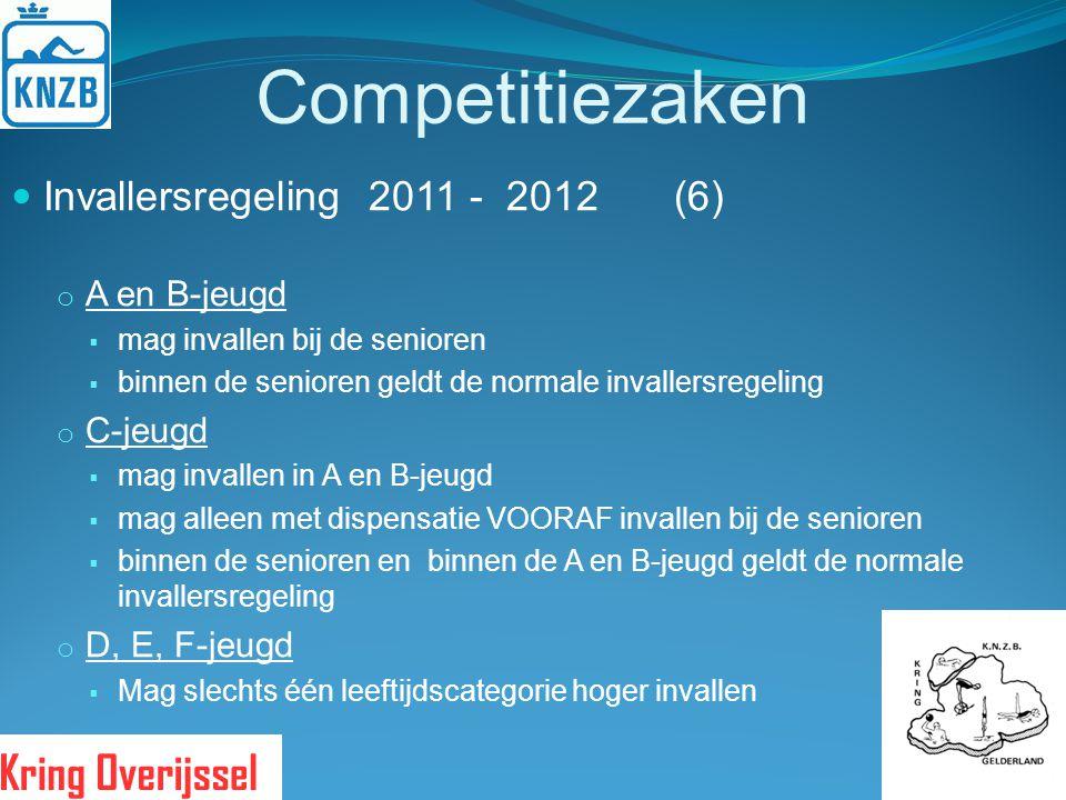 Competitiezaken Invallersregeling 2011 - 2012 (6) o A en B-jeugd  mag invallen bij de senioren  binnen de senioren geldt de normale invallersregelin