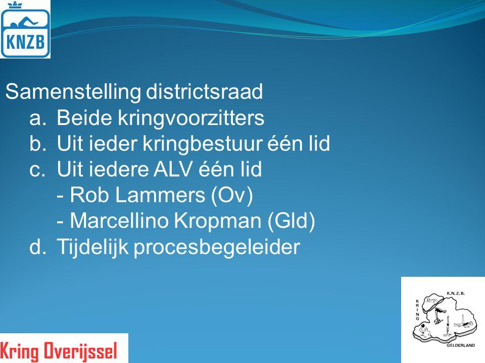 Samenstelling districtsraad a.Beide kringvoorzitters b.Uit ieder kringbestuur één lid c.Uit iedere ALV één lid - Rob Lammers (Ov) - Marcellino Kropman