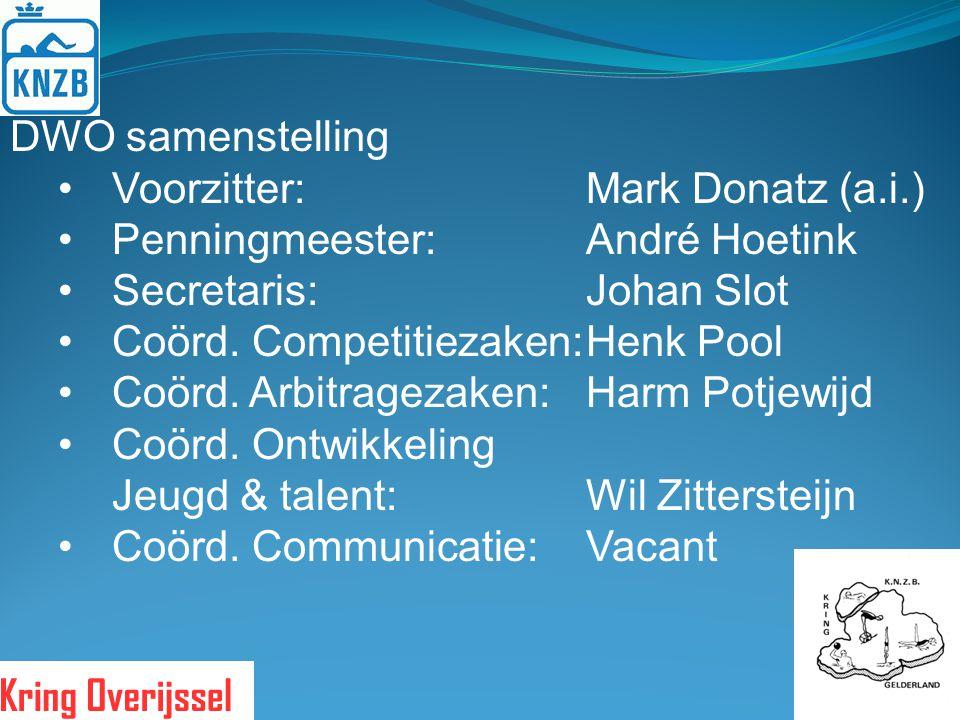 DWO samenstelling Voorzitter:Mark Donatz (a.i.) Penningmeester:André Hoetink Secretaris:Johan Slot Coörd. Competitiezaken:Henk Pool Coörd. Arbitrageza