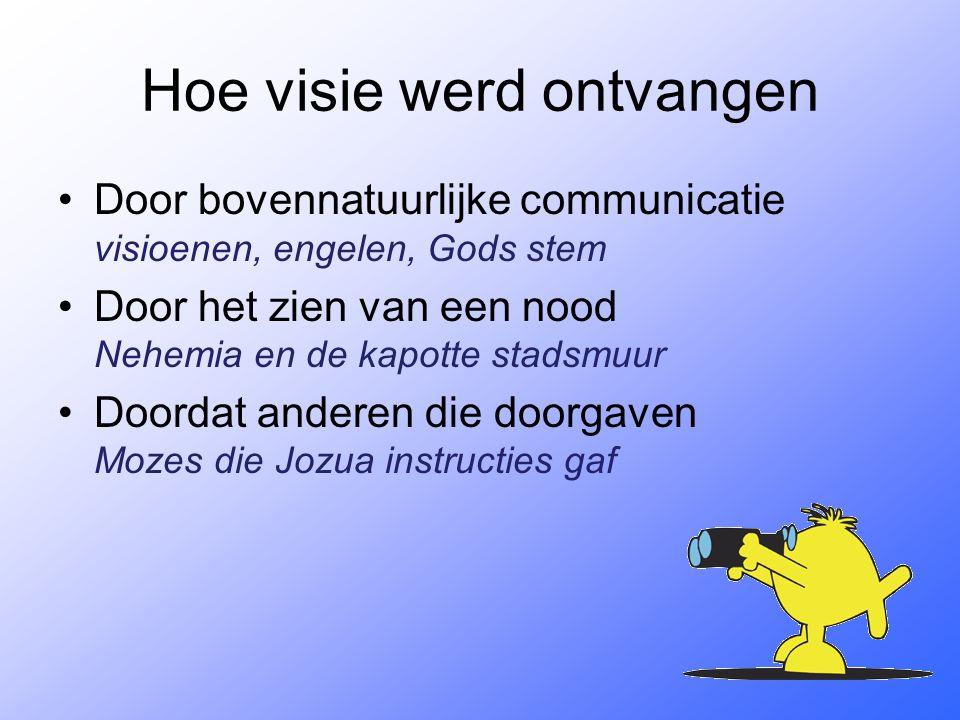 Hoe visie werd ontvangen Door bovennatuurlijke communicatie visioenen, engelen, Gods stem Door het zien van een nood Nehemia en de kapotte stadsmuur D