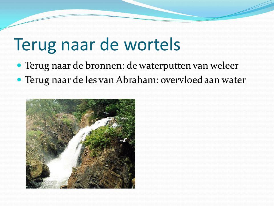 Terug naar de wortels Terug naar de bronnen: de waterputten van weleer Terug naar de les van Abraham: overvloed aan water