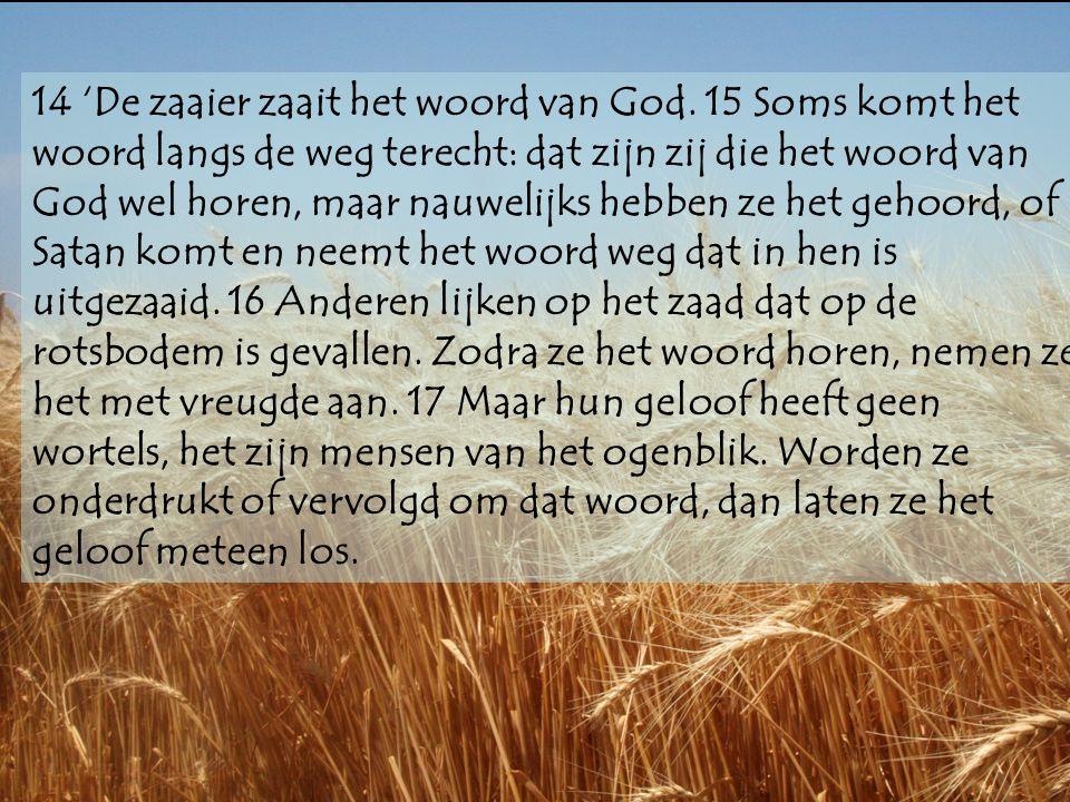 14 'De zaaier zaait het woord van God. 15 Soms komt het woord langs de weg terecht: dat zijn zij die het woord van God wel horen, maar nauwelijks hebb