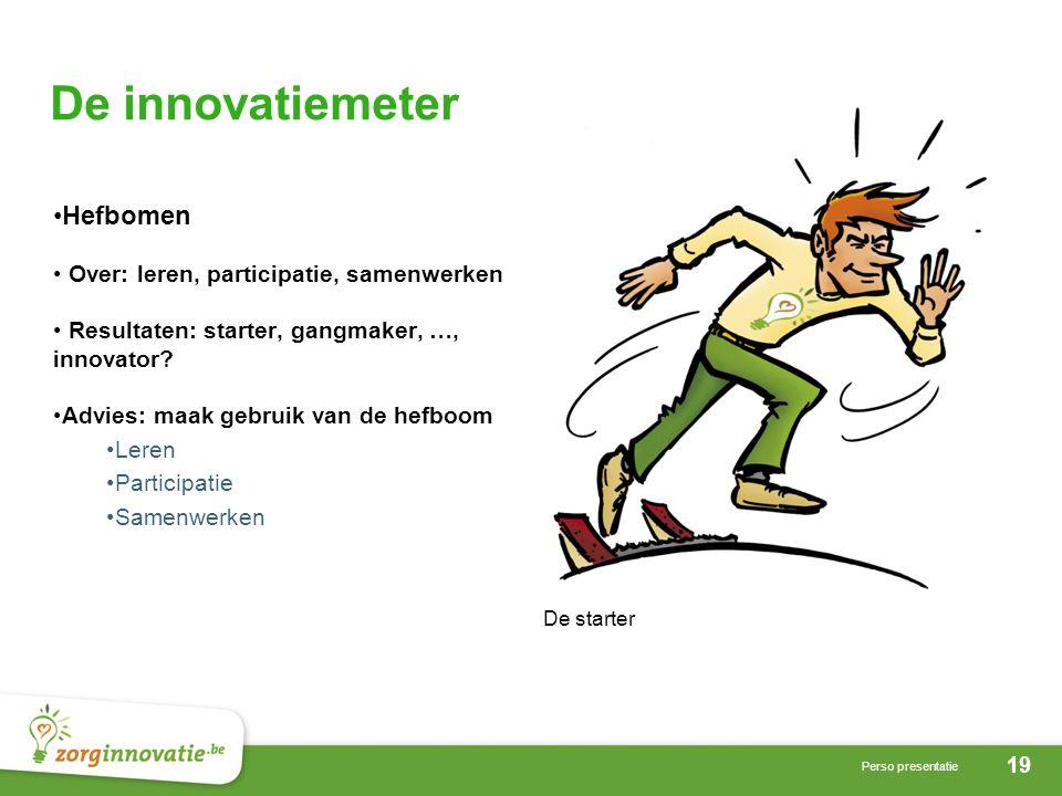 19 Perso presentatie De innovatiemeter De starter Hefbomen Over: leren, participatie, samenwerken Resultaten: starter, gangmaker, …, innovator.