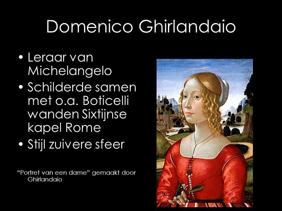 """Domenico Ghirlandaio Leraar van Michelangelo Schilderde samen met o.a. Boticelli wanden Sixtijnse kapel Rome Stijl zuivere sfeer """"Portret van een dame"""