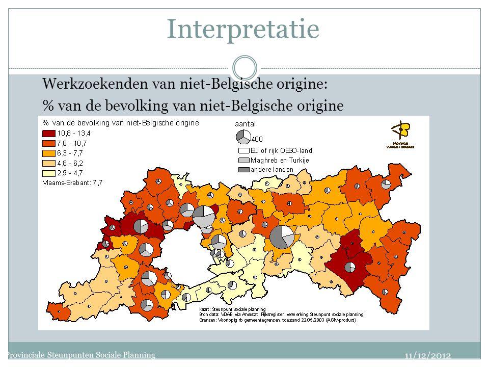 Interpretatie Werkzoekenden van niet-Belgische origine: % van de bevolking van niet-Belgische origine