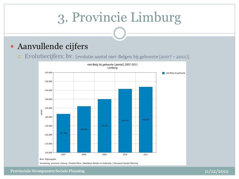 3. Provincie Limburg Aanvullende cijfers  Evolutiecijfers: bv. [evolutie aantal niet-Belgen bij geboorte (2007 – 2011)] 11/12/2012 Provinciale Steunp
