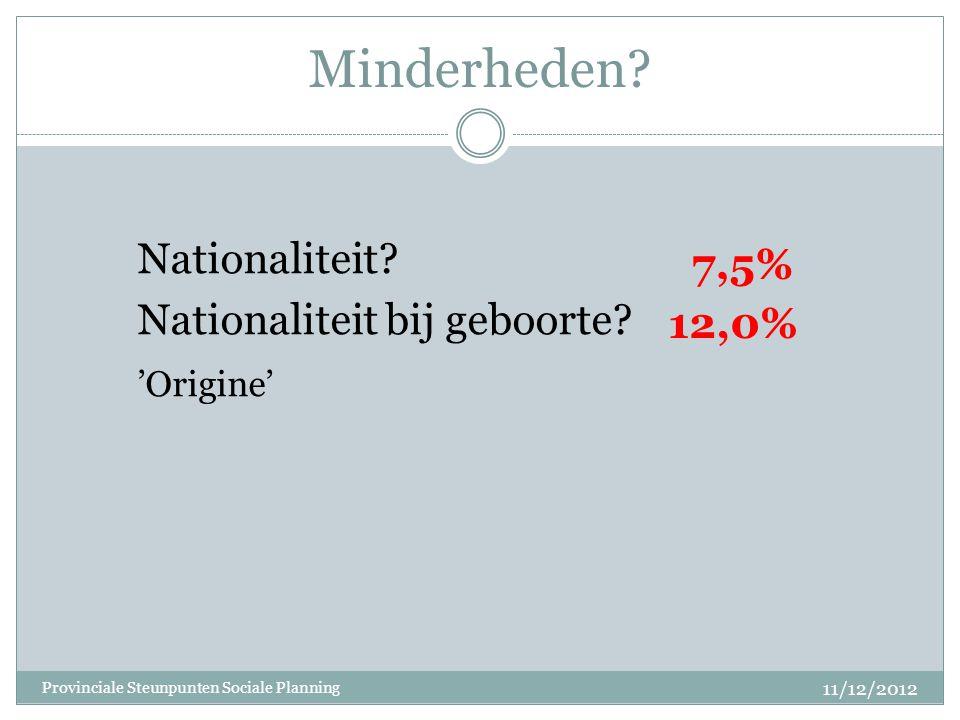 Minderheden? Nationaliteit? Nationaliteit bij geboorte? 'Origine' 12,0% 11/12/2012 Provinciale Steunpunten Sociale Planning 7,5%