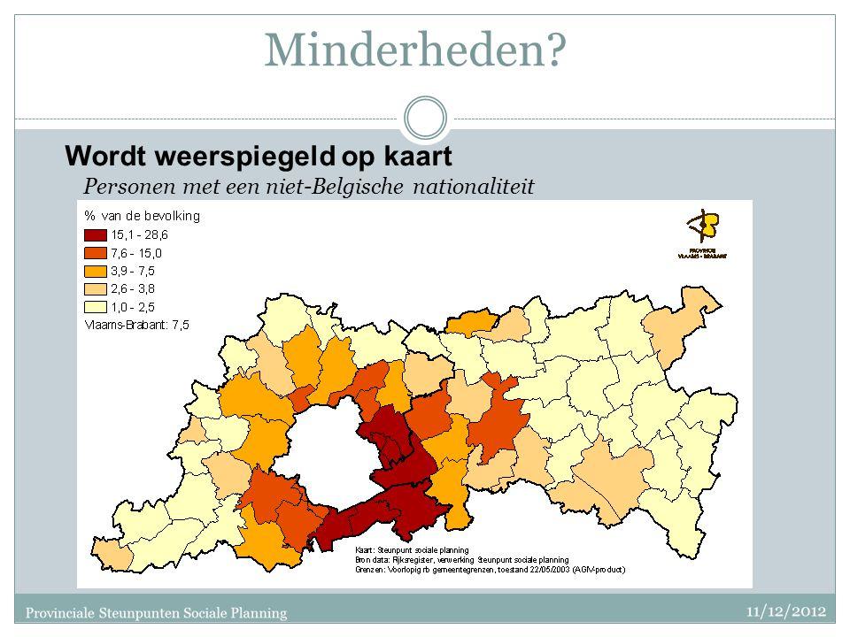 Minderheden Personen met een niet-Belgische nationaliteit Wordt weerspiegeld op kaart