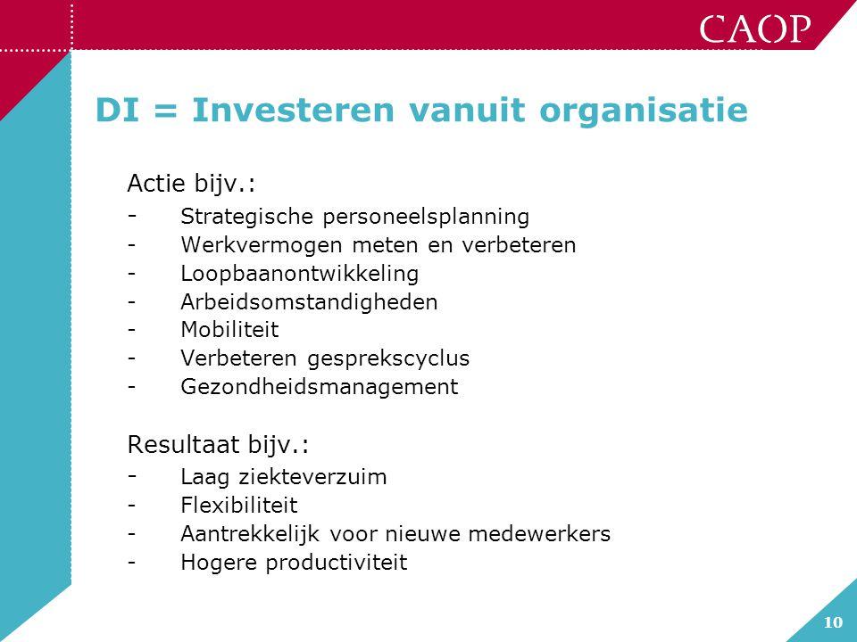 10 DI = Investeren vanuit organisatie Actie bijv.: - Strategische personeelsplanning -Werkvermogen meten en verbeteren -Loopbaanontwikkeling -Arbeidso